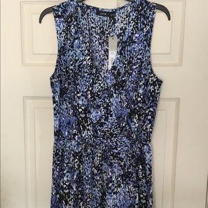 KOHL's APT 9 blue/white/black faux wrap dress SZ L